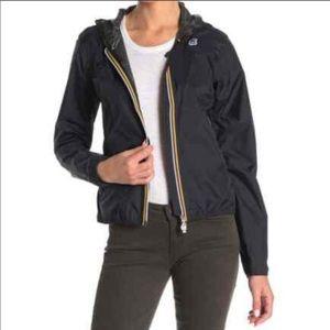 NWT K-WAY Black Claude Front Zip Hooded Jacket